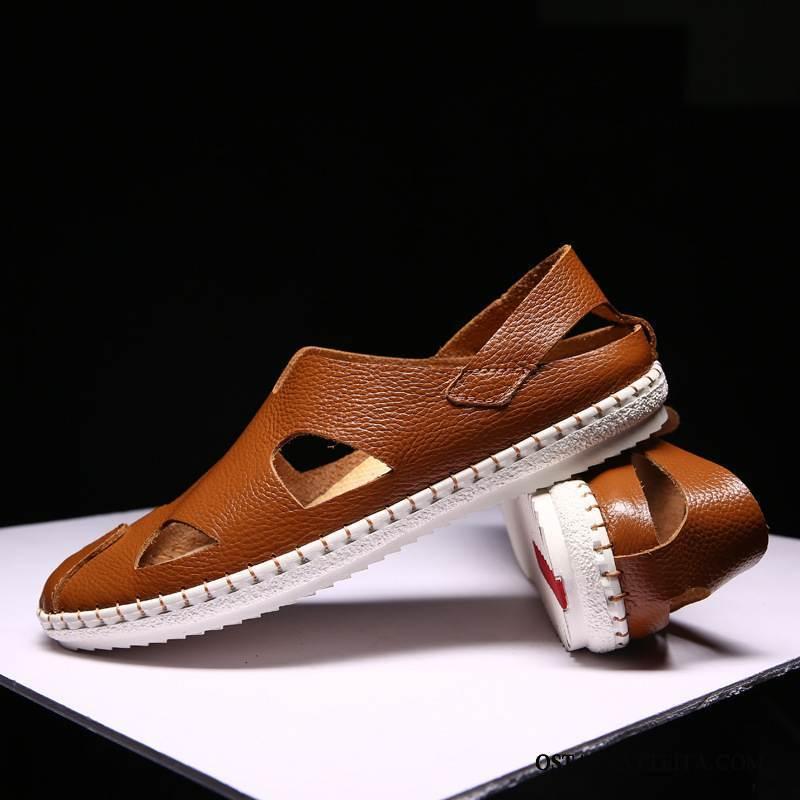 Sandaalit Miesten Kesä Pehmeä Pohja Suuntaus Aito Nahka Rento Miehille