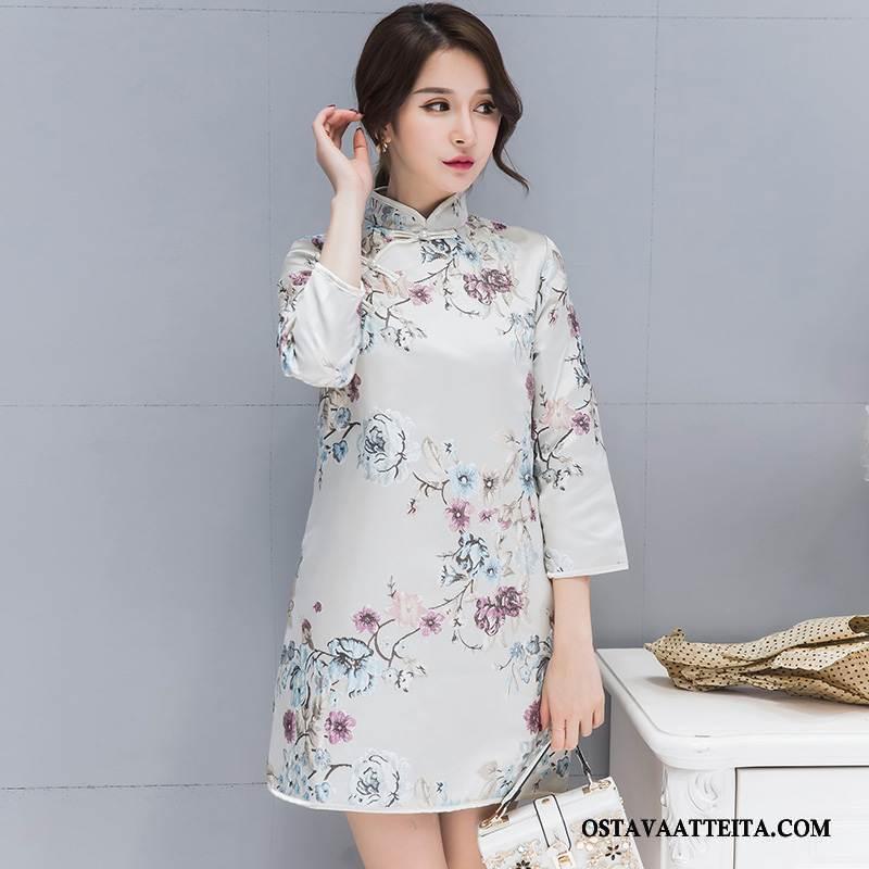 Cheongsam Naisten Kiinalainen Tyyli Suora Syksy Valkoinen Vintage Pitkässä Osassa