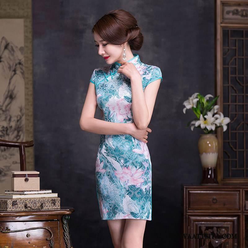 Cheongsam Naisten Ohut Vintage Korkea Kaulus Sininen Kirjonta Naisille