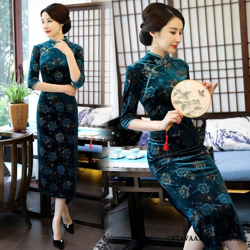 Cheongsam Naisten Sininen Tyylikäs Mekko Sideharso Ohut Kevät