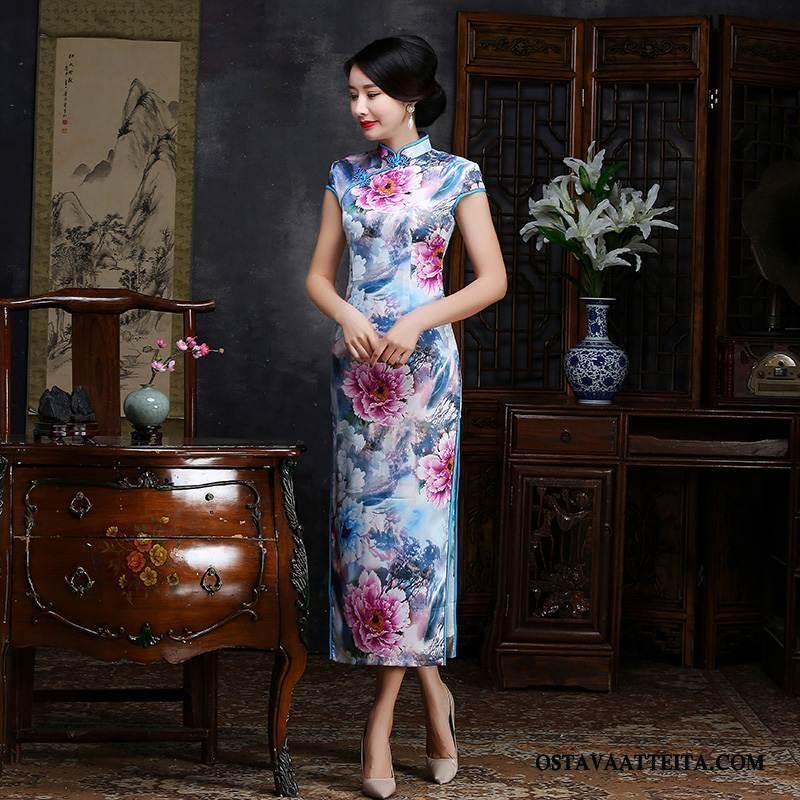 Cheongsam Naisten Tyylikäs Sideharso Tiukka Muoti Sininen Suuntaus