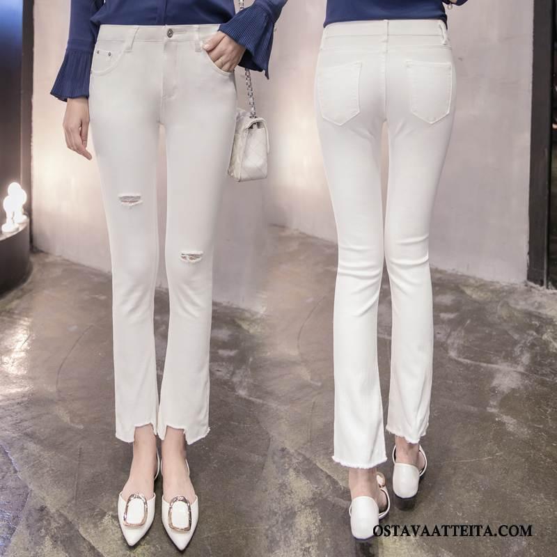 Farkut Naisten Yksinkertainen Tyylikäs Kevät Valkoinen Muoti
