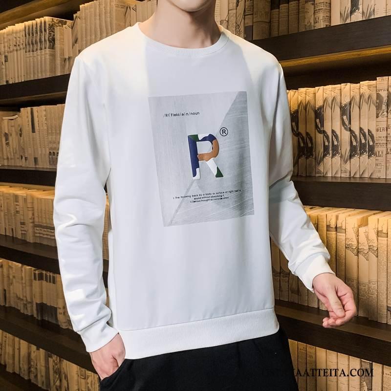 Huppari Miesten Kevät Pitkähihainen T-paita Suuntaus Syksy Aluspaita Valkoinen