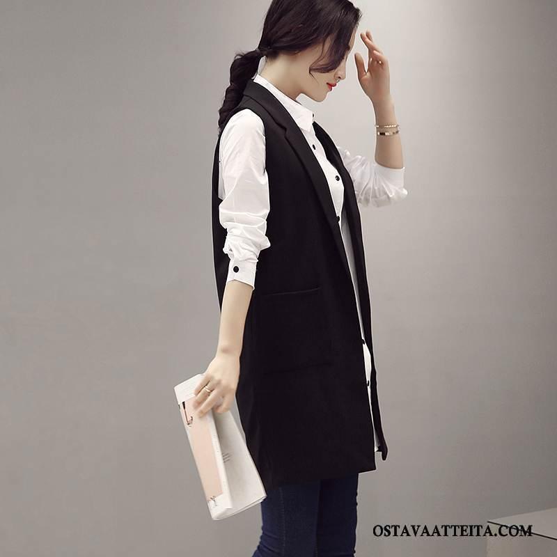 Liivi Naisten Pitkässä Osassa Tasku Muoti Yksinkertainen Tyylikäs Musta