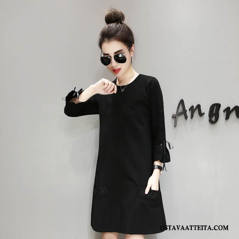 Plus Size Vaatteet Naisten Holkki Suuri Koko Musta Leninki Pullover Paksu