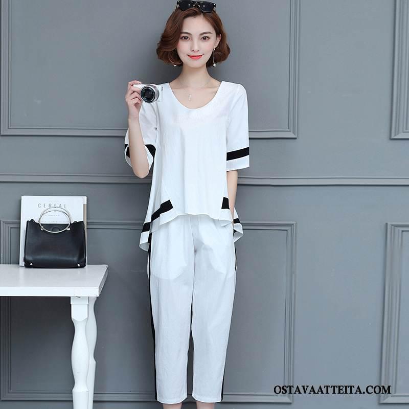 Plus Size Vaatteet Naisten Katu Pyöreä Kaula Valkoinen Pullover Kesä Löysät