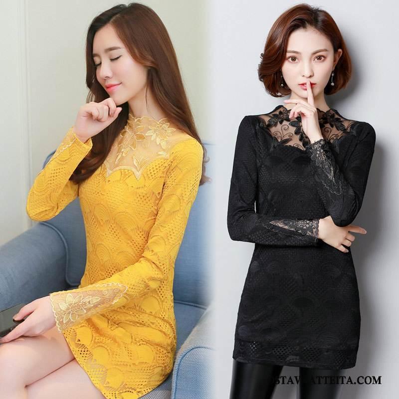 Plus Size Vaatteet Naisten Keltainen Puhdas Casual Muoti Tiukka Kevät
