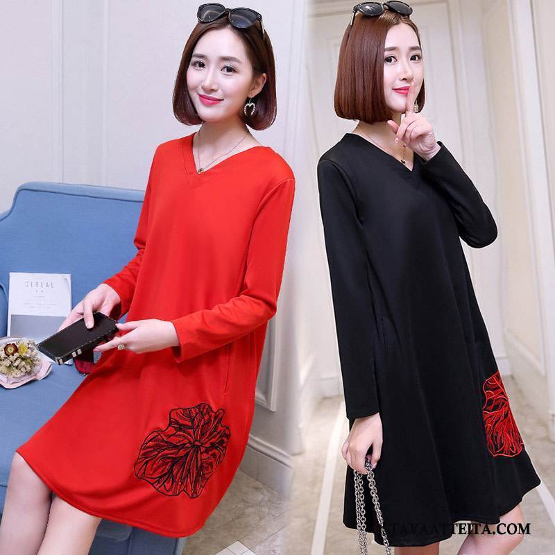Plus Size Vaatteet Naisten Kevät Musta Casual Pullover Leninki Muoti