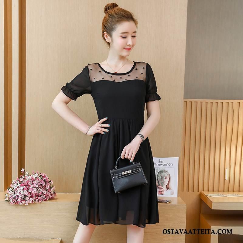 Plus Size Vaatteet Naisten Lyhythihainen Musta Löysät Leninki Suuri Koko Tyylikäs