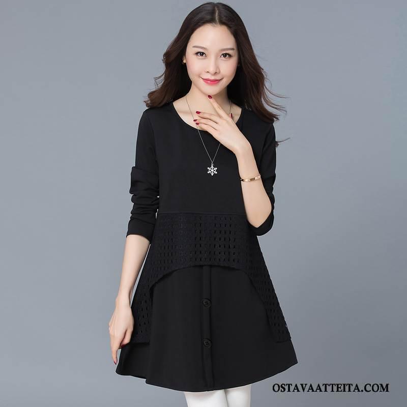 Plus Size Vaatteet Naisten Pitkässä Osassa Suuri Koko Leninki Musta Puhdas Pitkät Hihat