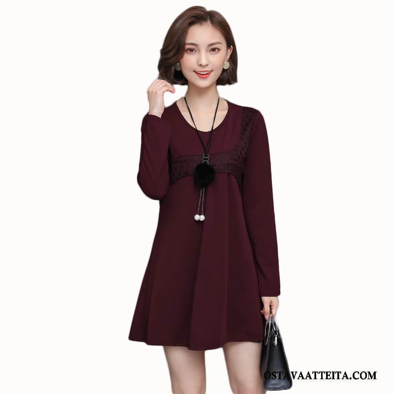 Plus Size Vaatteet Naisten Pyöreä Kaula Pullover Syksy Naisille Punainen Suuri Koko