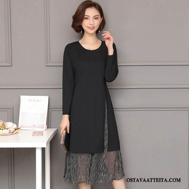 Plus Size Vaatteet Naisten Suuntaus Tiukka Kevät Musta Tyylikäs Naisille