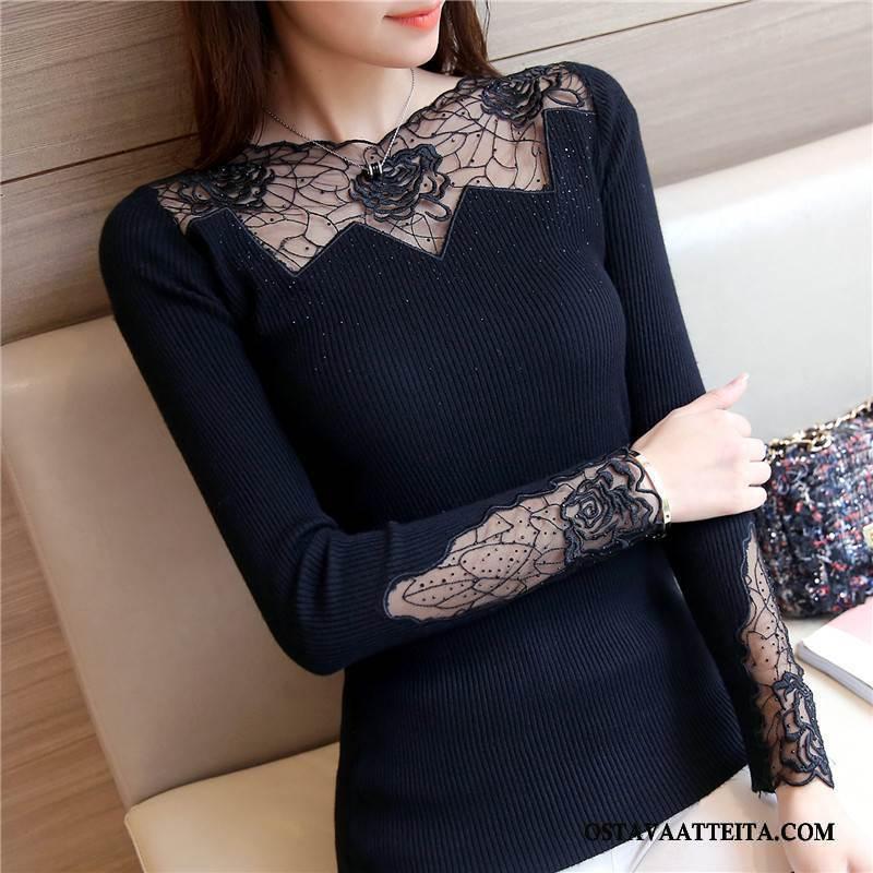 Pusero Naisten Musta Pullover Muoti Sifonki Casual Tyylikäs
