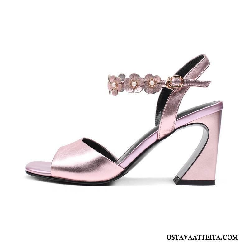 Sandaalit Naisten Kengät Naisille Aito Nahka Muoti Korko Kesä