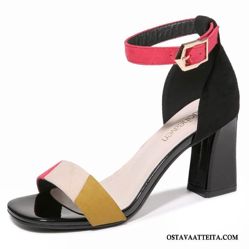 Sandaalit Naisten Korkokengät Suuntaus Paksu Neliön Pää Avoin Kesä