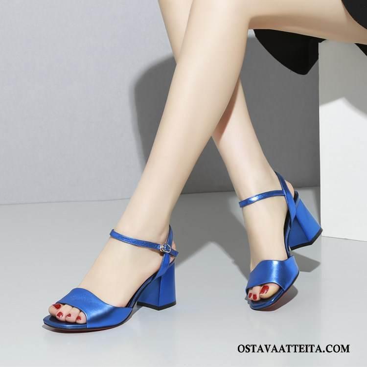 Sandaalit Naisten Nahka Mukavat Naisille Kengät Korkokengät Avoin