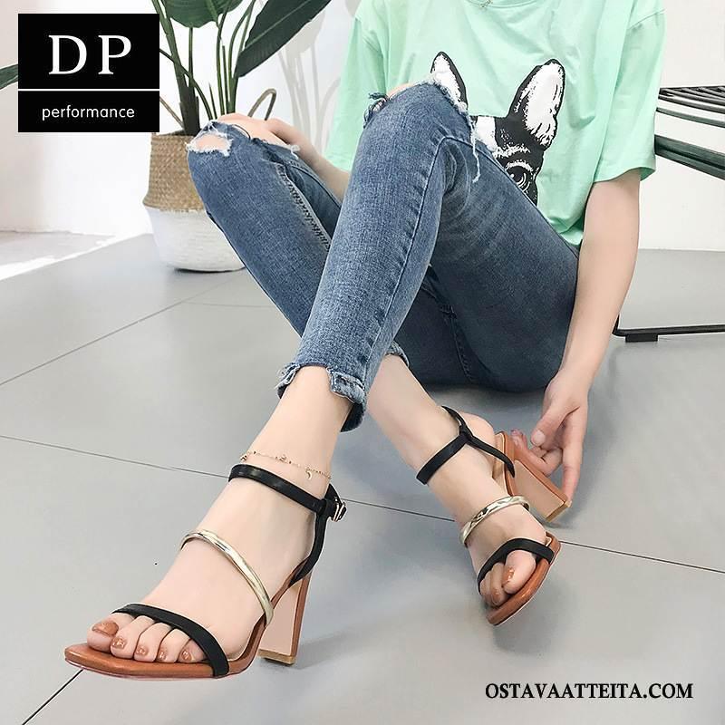 Sandaalit Naisten Naisille Kesä Paksu Kengät Neliön Pää Ruskea