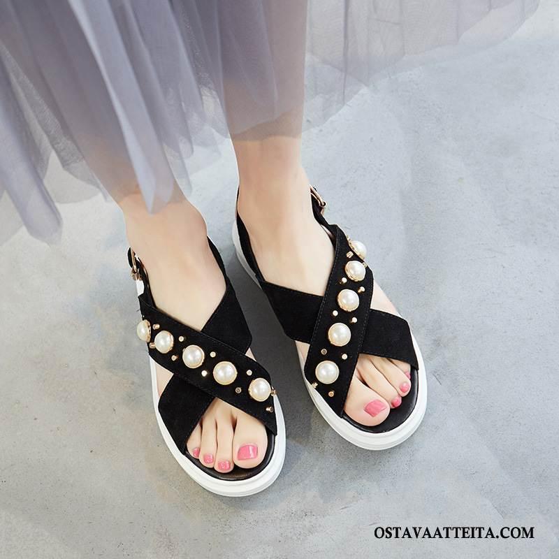 Sandaalit Naisten Rento Kengät Korokekenkien Kaikki Ottelut Paksu Pohja Kesä