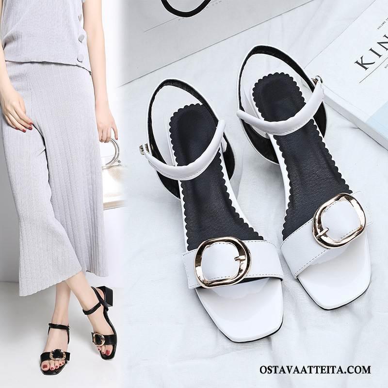 Sandaalit Naisten Solki Neliön Pää Aito Nahka Suuri Koko Kengät Naisille