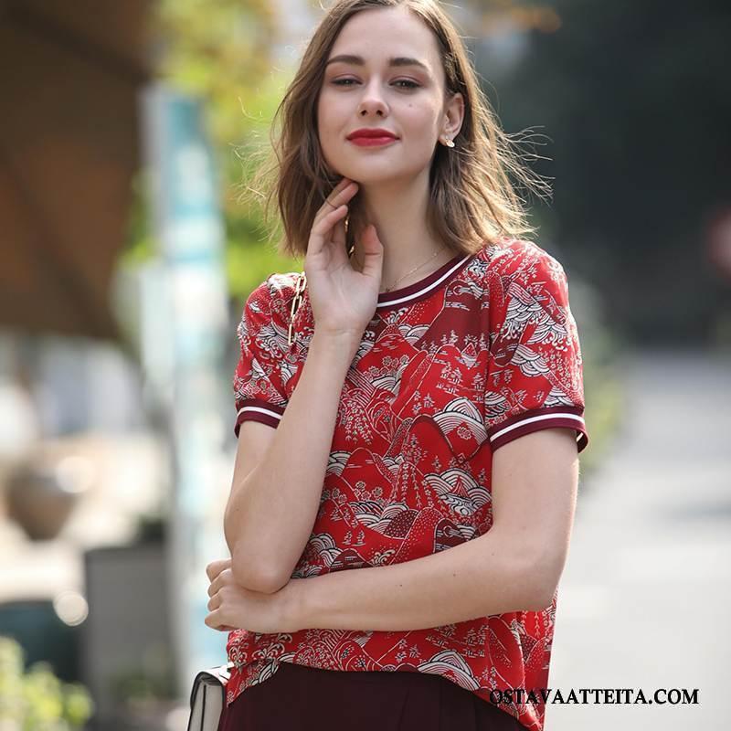 Silkkimekko Naisten Suuntaus Tyylikäs Punainen Yksinkertainen Muoti Kevät