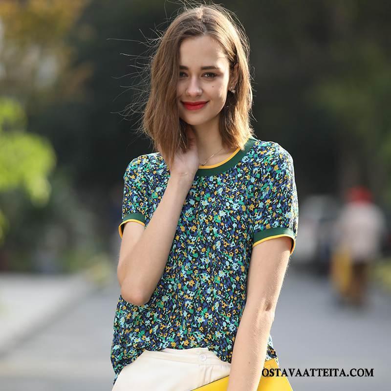 Silkkimekko Naisten Yksinkertainen Kevät Tiukka Tyylikäs Vihreä Ohut