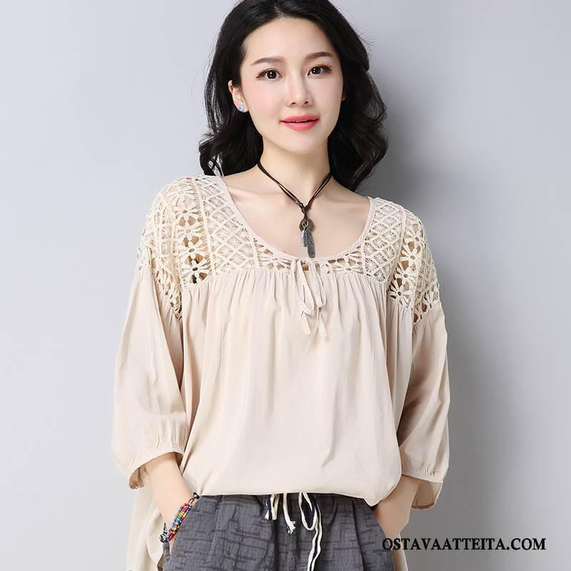 T-paidat Naisten Makea Löysät Lyhythihainen Ohut Keltainen Casual