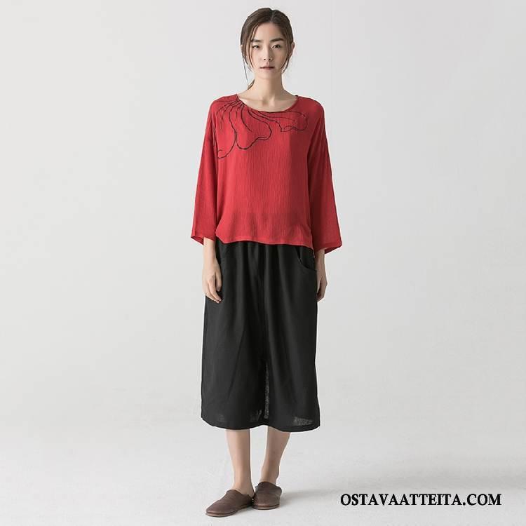 T-paidat Naisten Punainen Kevät Muoti Pitkät Hihat Pyöreä Kaula Makea