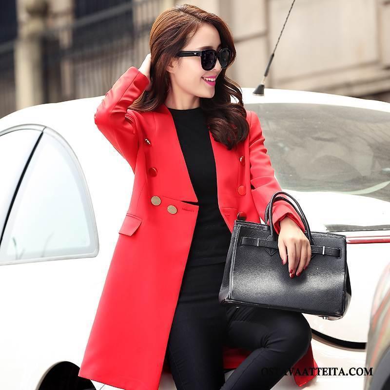 Trenssi Naisten Kevät Pitkässä Osassa Street Tyyli Pitkät Hihat Punainen Tiukka