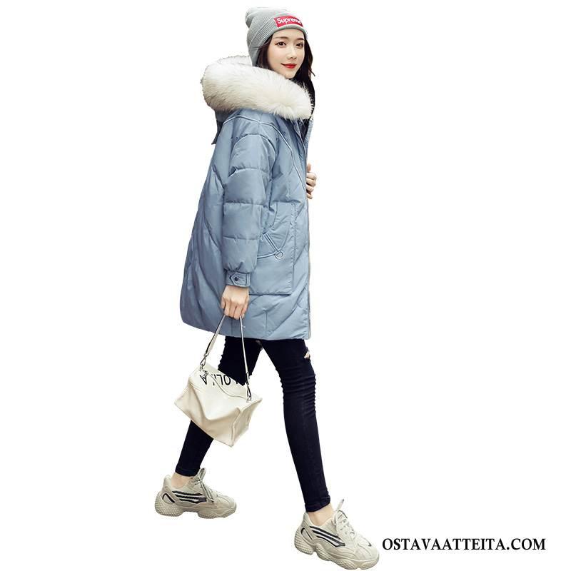 Untuvatakki Naisten Paksut Valkoinen Muoti Sininen Löysät Pieni