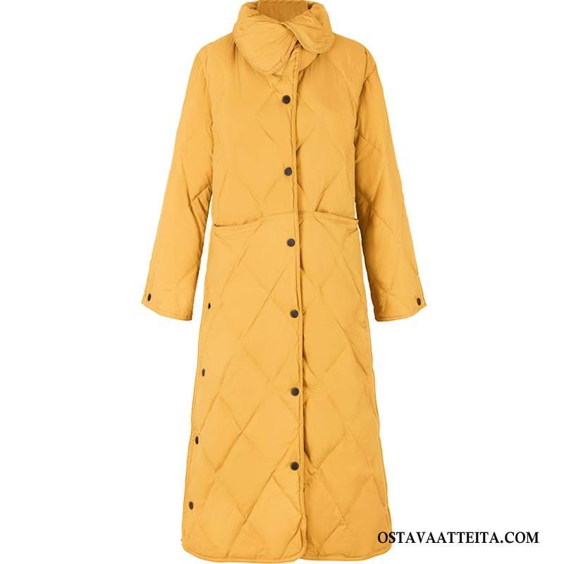 Untuvatakki Naisten Silkki Keltainen Tasku