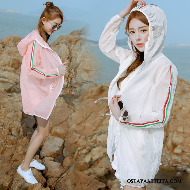 Uv Vaatteet Naisten Kesä Valkoinen Aurinkosuojatuotteet Hupullinen Vetoketju Tyylikäs