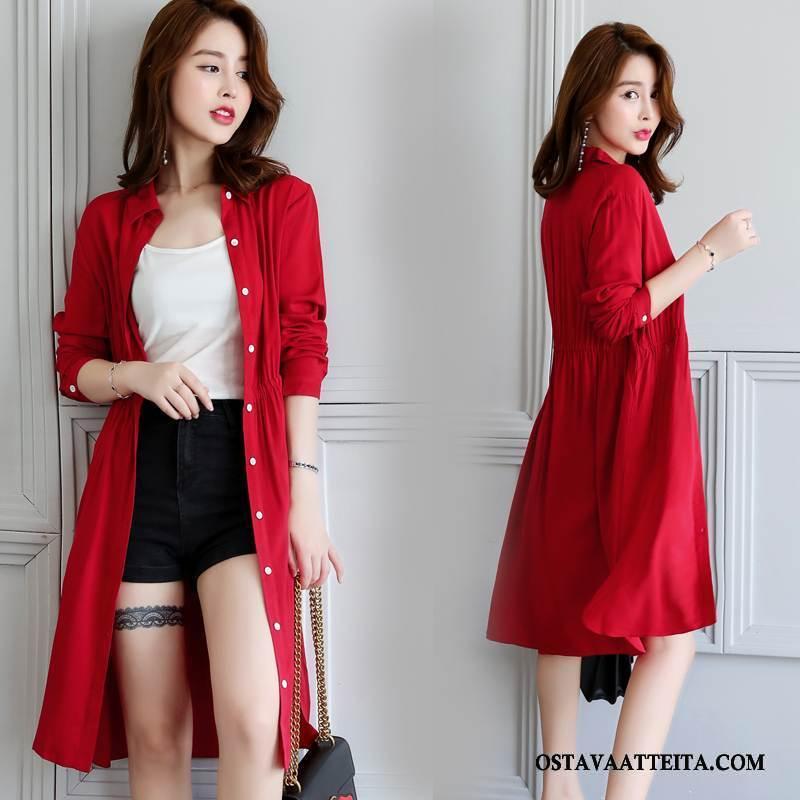 Uv Vaatteet Naisten Makea Yksinkertainen Punainen Pitkät Hihat Tyylikäs Yksirivinen