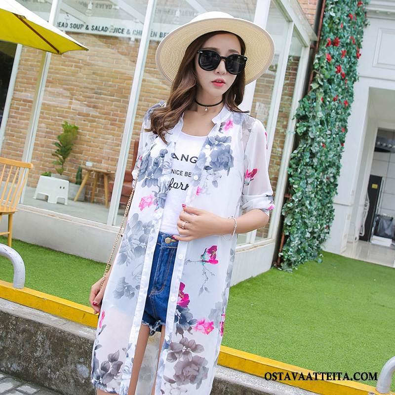 Uv Vaatteet Naisten Muoti Kesä Tyylikäs Yksinkertainen Valkoinen Kukka