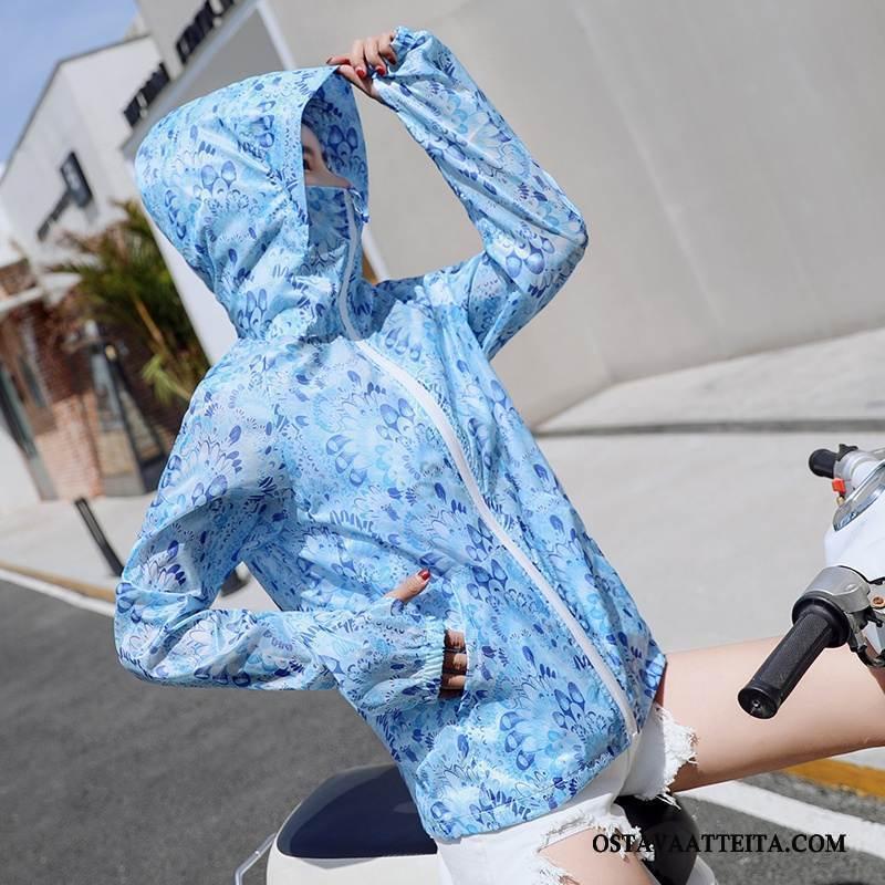 Uv Vaatteet Naisten Suora Pitkät Hihat Hupullinen Sininen Aurinkosuojatuotteet Kesä